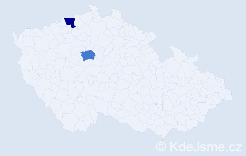 Příjmení: 'Lavers', počet výskytů 5 v celé ČR