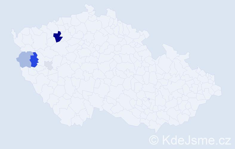 Příjmení: 'Géczy', počet výskytů 9 v celé ČR