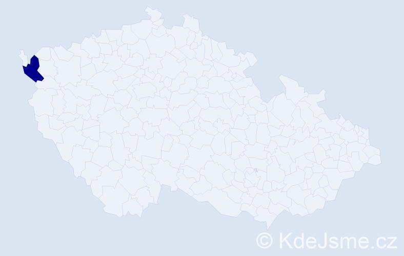 """Příjmení: '""""La Garde""""', počet výskytů 5 v celé ČR"""