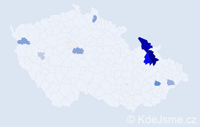 Příjmení: 'Ilnický', počet výskytů 24 v celé ČR