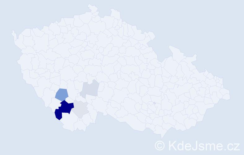 Příjmení: 'Kubernová', počet výskytů 13 v celé ČR