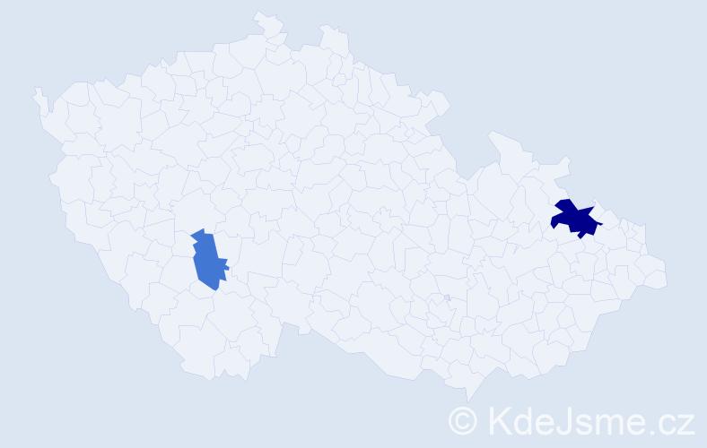 Příjmení: 'Havranek', počet výskytů 4 v celé ČR