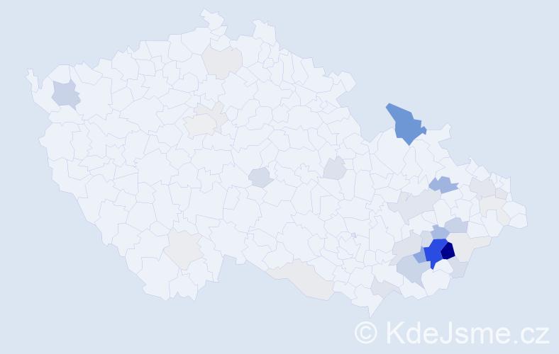 Příjmení: 'Knedla', počet výskytů 120 v celé ČR