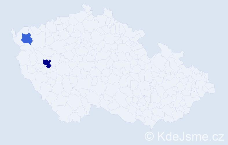 Příjmení: 'Delawski', počet výskytů 8 v celé ČR