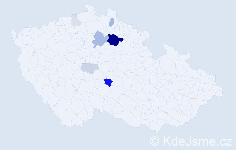 Příjmení: 'Dovol', počet výskytů 21 v celé ČR