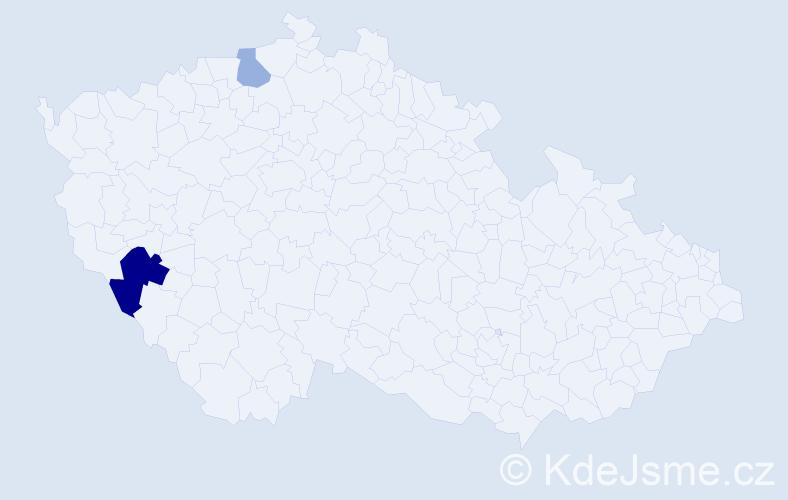 Příjmení: 'Čerbová', počet výskytů 4 v celé ČR