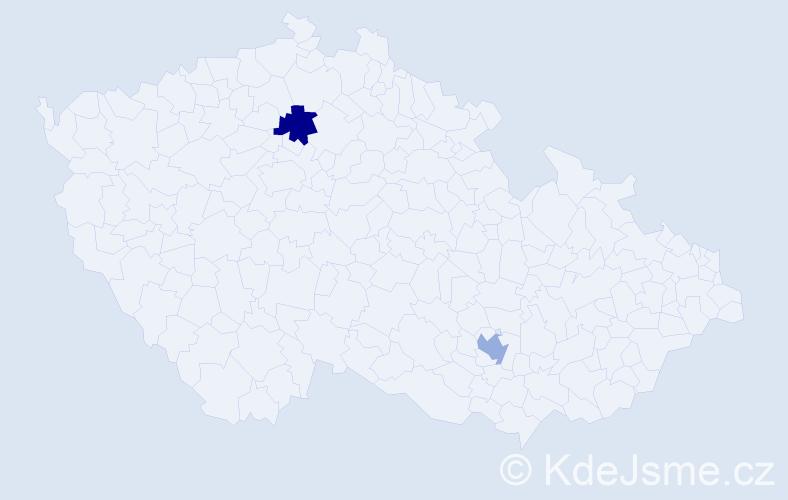 Příjmení: 'Jusupova', počet výskytů 2 v celé ČR