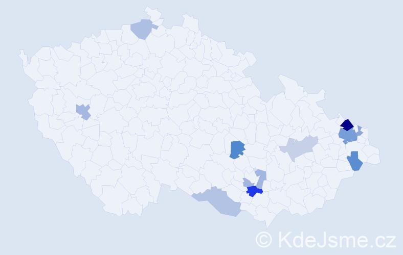 Příjmení: 'Gruška', počet výskytů 21 v celé ČR