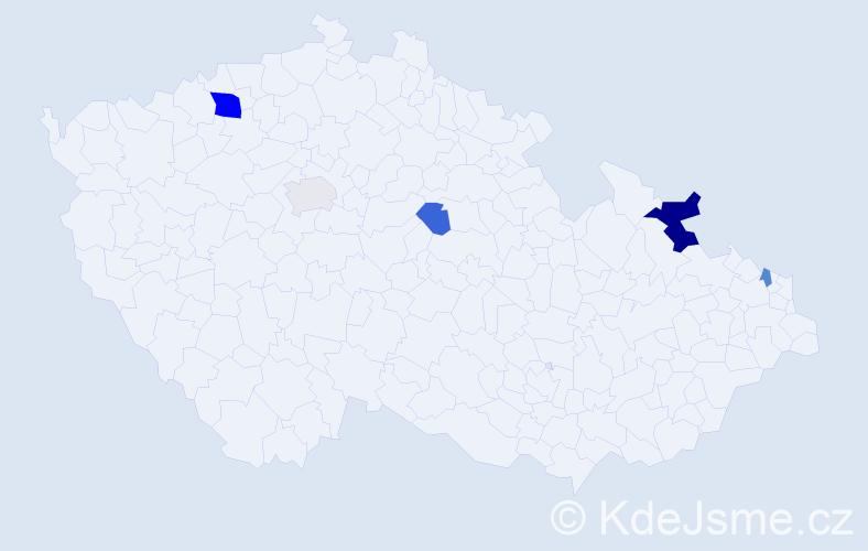Příjmení: 'Hrvol', počet výskytů 10 v celé ČR