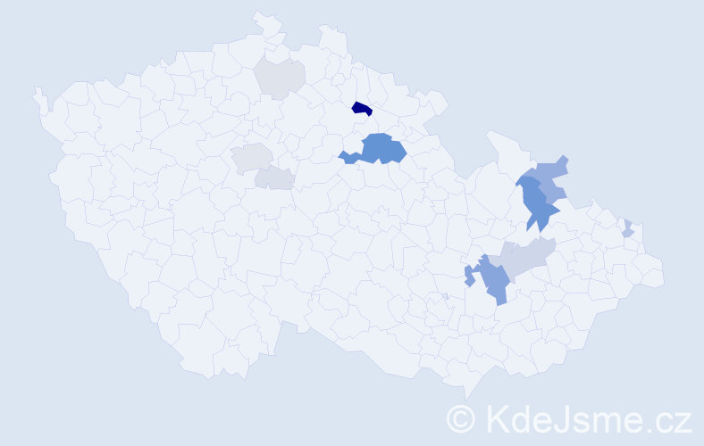 Příjmení: 'Entner', počet výskytů 50 v celé ČR