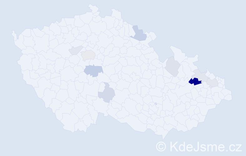 Příjmení: 'Ďuríčková', počet výskytů 19 v celé ČR