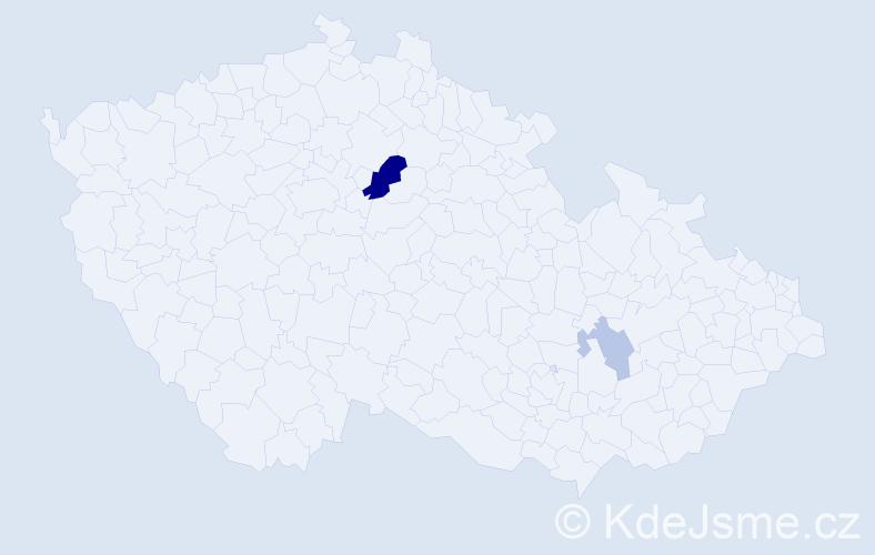Příjmení: 'Kalicovová', počet výskytů 5 v celé ČR