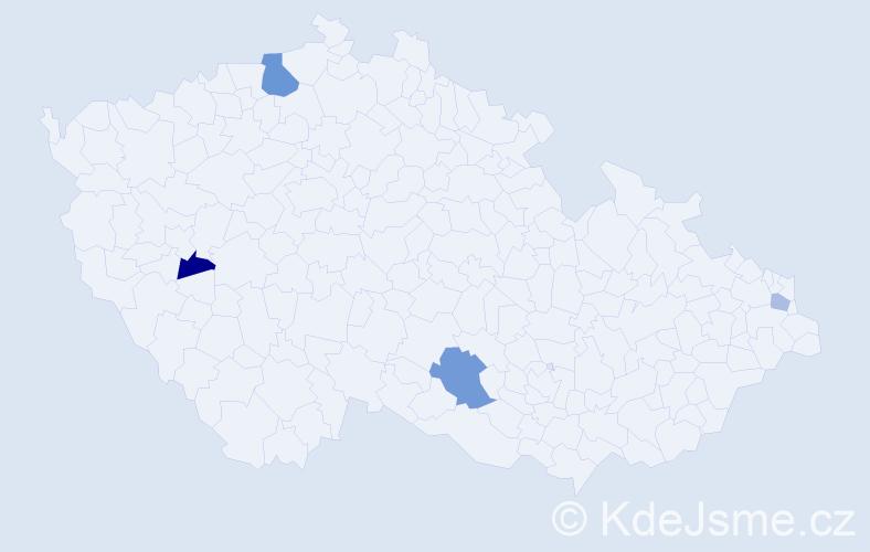 Příjmení: 'Čmelková', počet výskytů 7 v celé ČR