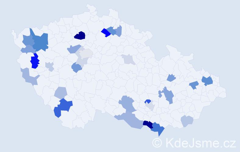 Příjmení: 'Harmanová', počet výskytů 74 v celé ČR