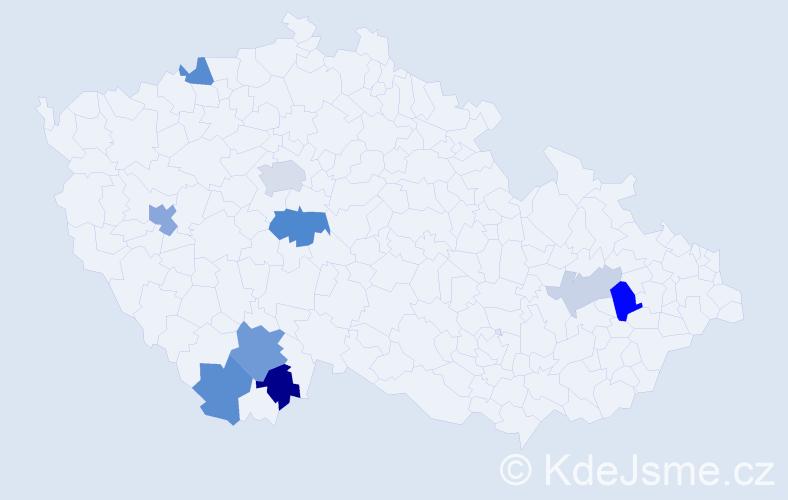 Příjmení: 'Dánová', počet výskytů 24 v celé ČR
