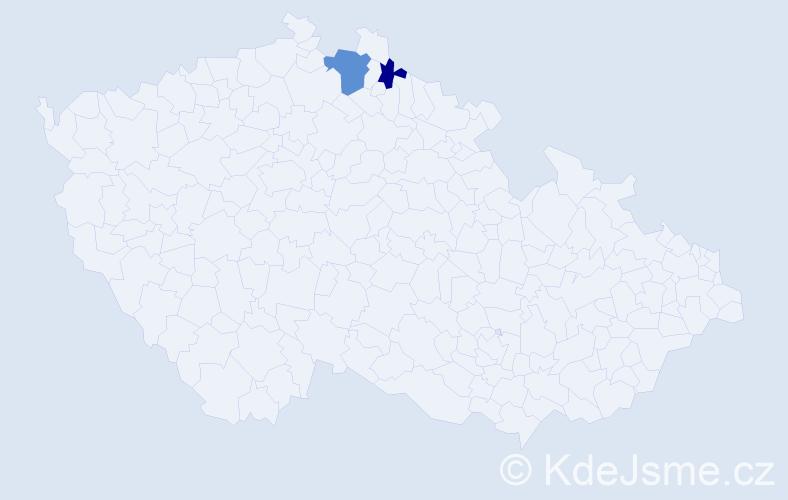 Příjmení: 'Dudev', počet výskytů 3 v celé ČR