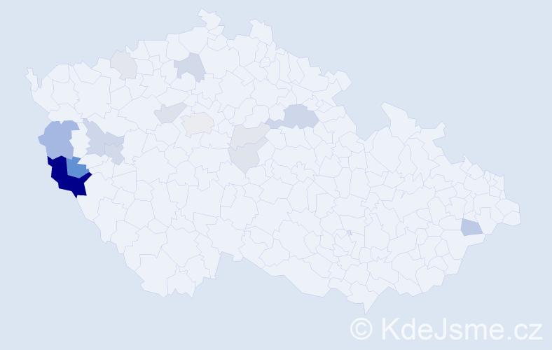 Příjmení: 'Herlíková', počet výskytů 50 v celé ČR