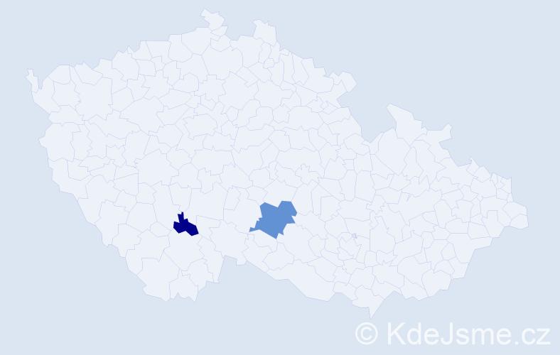 Příjmení: 'Hollík', počet výskytů 10 v celé ČR