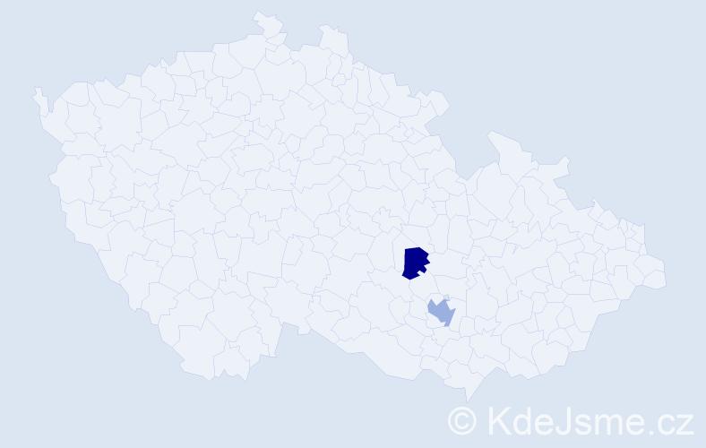 Příjmení: 'Kluj', počet výskytů 3 v celé ČR