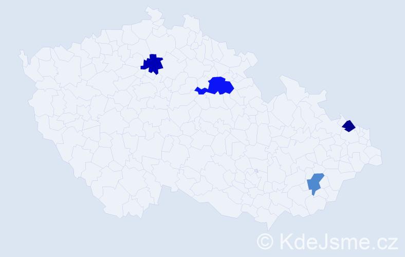 Příjmení: 'Bajánek', počet výskytů 5 v celé ČR