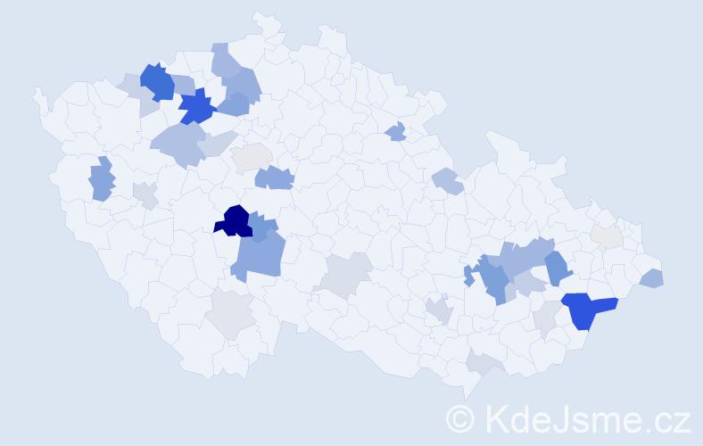 Příjmení: 'Halaš', počet výskytů 95 v celé ČR