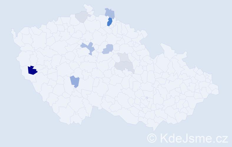 Příjmení: 'Jacik', počet výskytů 21 v celé ČR