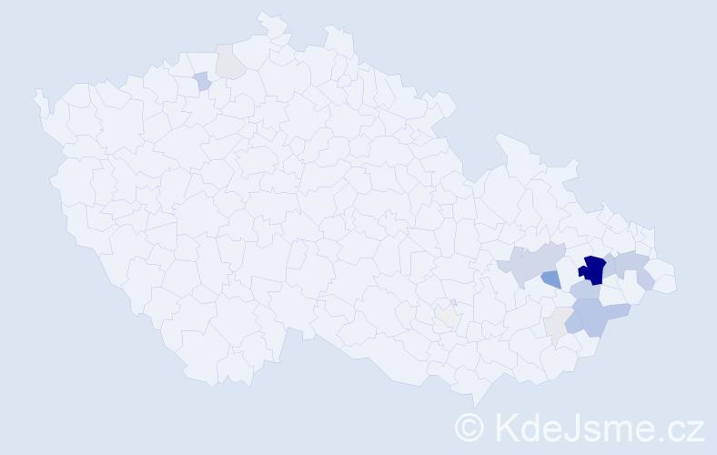 Příjmení: 'Janýšková', počet výskytů 48 v celé ČR