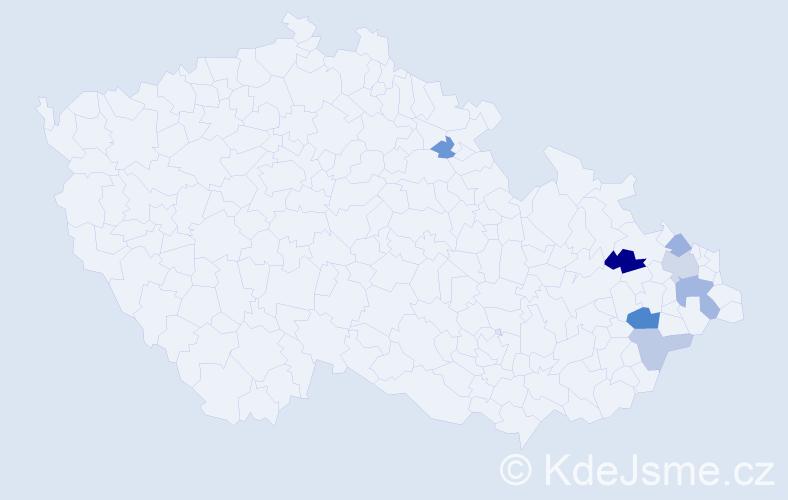 Příjmení: 'Ječmenková', počet výskytů 12 v celé ČR