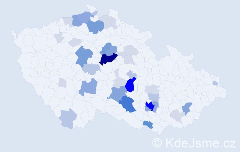 Příjmení: 'Škarvada', počet výskytů 129 v celé ČR