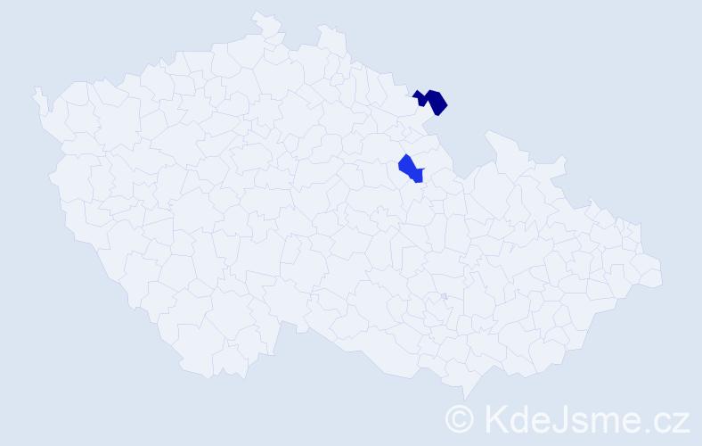 Příjmení: 'Ďoubková', počet výskytů 2 v celé ČR