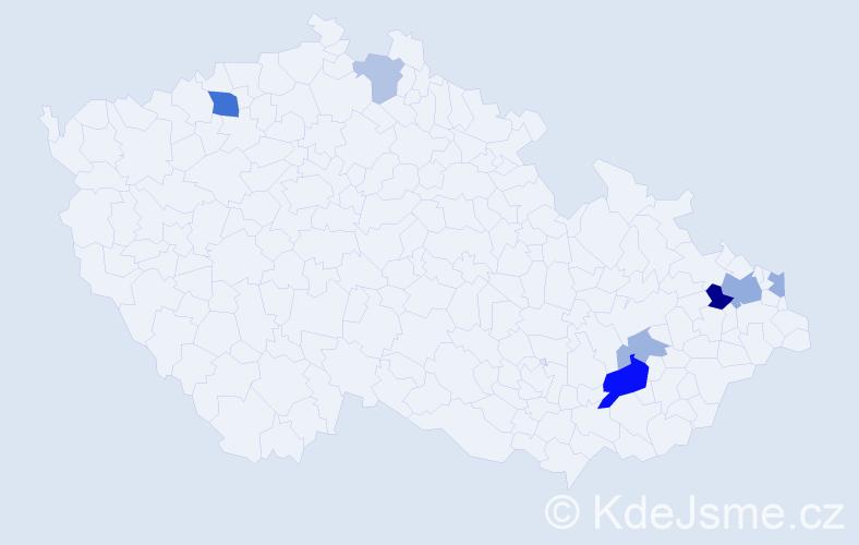 Příjmení: 'Kanálošová', počet výskytů 15 v celé ČR