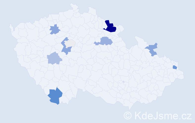 Příjmení: 'Kornfeld', počet výskytů 20 v celé ČR