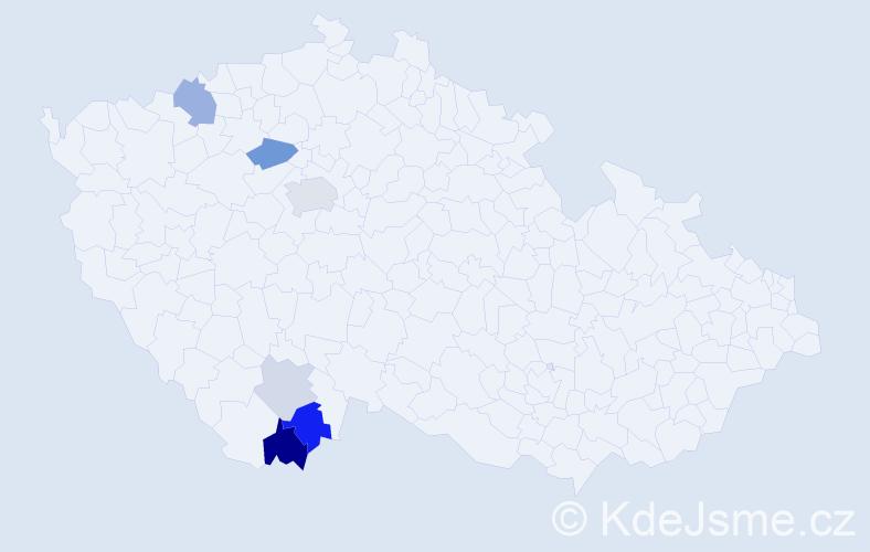 Příjmení: 'Lemochová', počet výskytů 14 v celé ČR