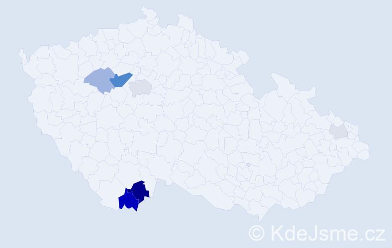 Příjmení: 'Hrmo', počet výskytů 14 v celé ČR