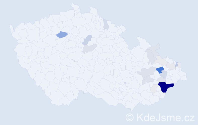 Příjmení: 'Čablíková', počet výskytů 77 v celé ČR