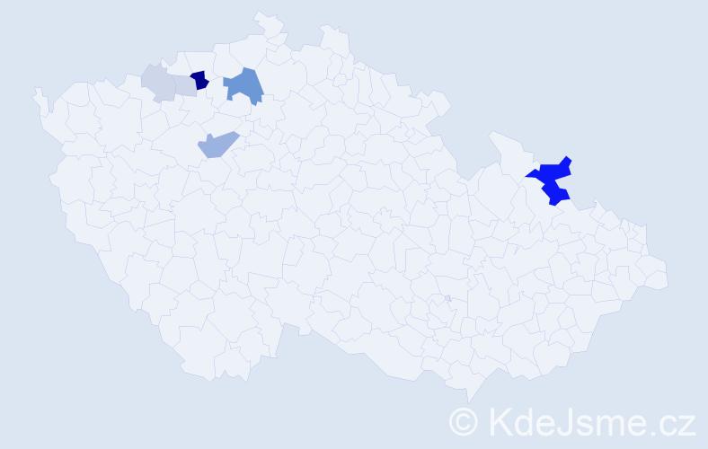 Příjmení: 'Graga', počet výskytů 19 v celé ČR
