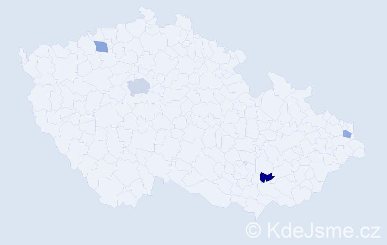 Příjmení: 'Cisar', počet výskytů 6 v celé ČR