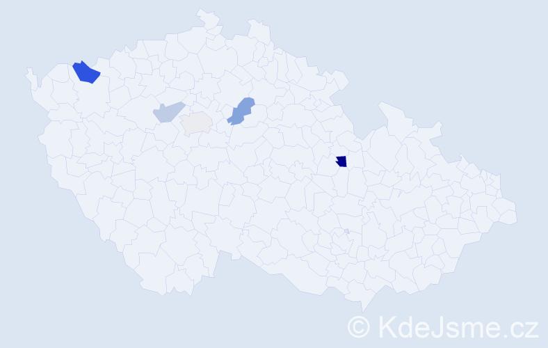 Příjmení: 'Lašman', počet výskytů 7 v celé ČR