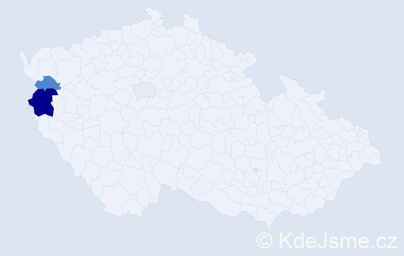 Příjmení: 'Dudarcová', počet výskytů 5 v celé ČR