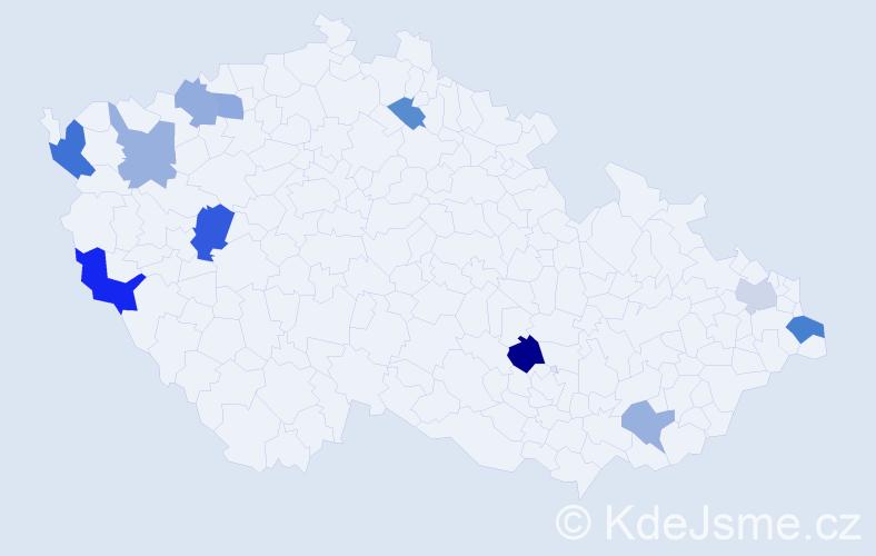 Příjmení: 'Hvizdová', počet výskytů 16 v celé ČR