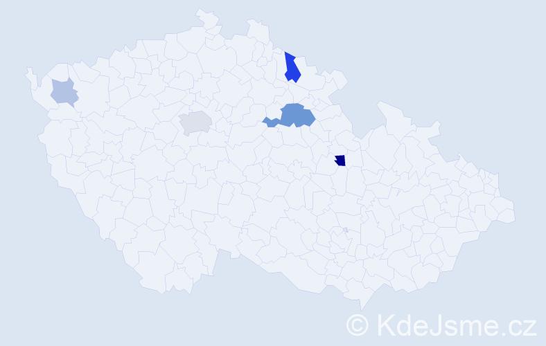 Příjmení: 'Břešťovská', počet výskytů 12 v celé ČR