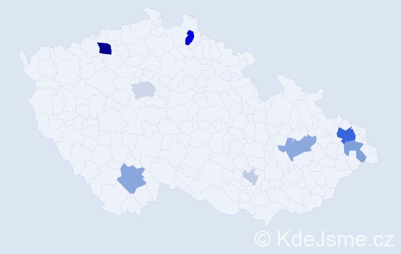 Příjmení: 'Andreev', počet výskytů 16 v celé ČR