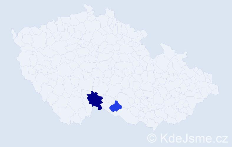 Příjmení: 'Bouzar', počet výskytů 4 v celé ČR