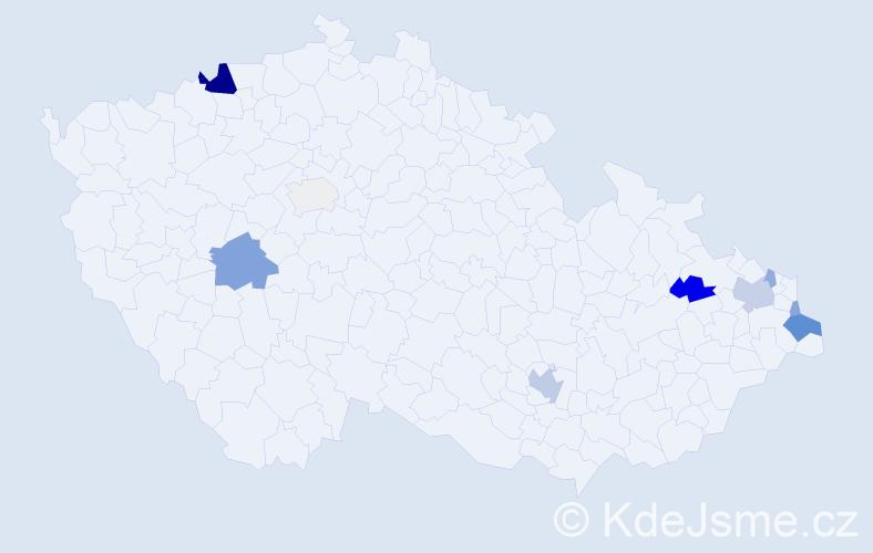 Příjmení: 'Biely', počet výskytů 26 v celé ČR