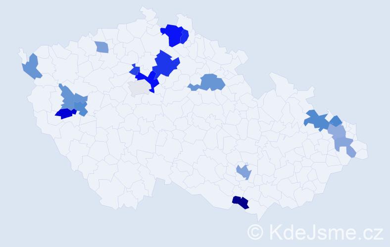 Příjmení: 'Langeová', počet výskytů 33 v celé ČR