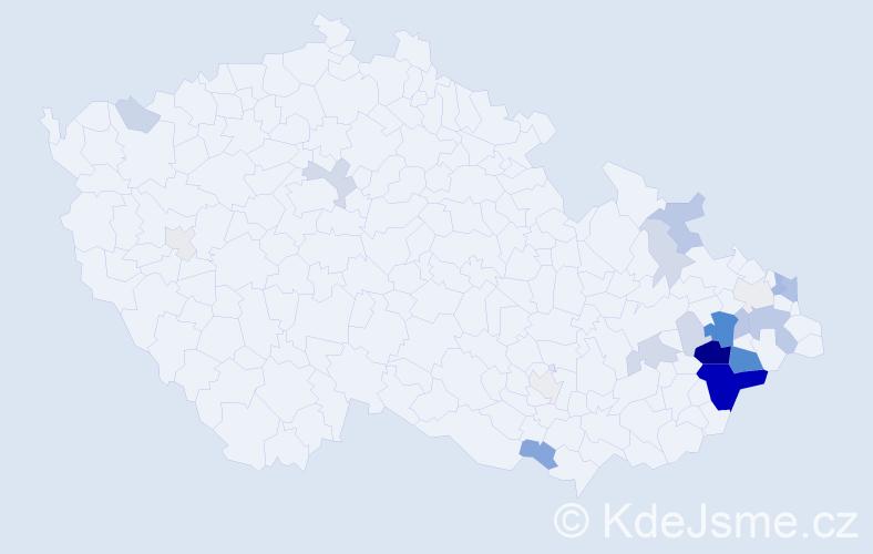 Příjmení: 'Krhovjáková', počet výskytů 88 v celé ČR