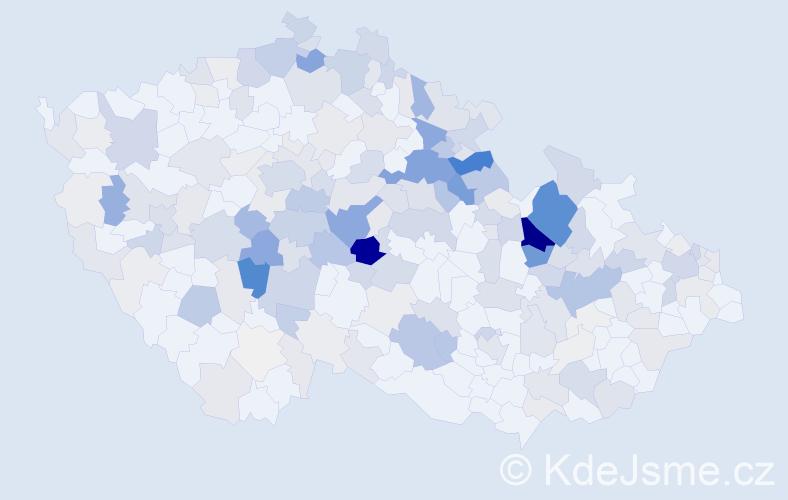 Příjmení: 'Hroch', počet výskytů 877 v celé ČR