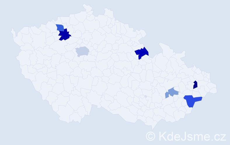 Příjmení: 'Hlubík', počet výskytů 27 v celé ČR