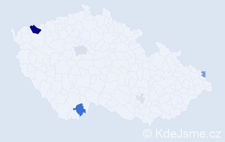 Příjmení: 'Adamčáková', počet výskytů 10 v celé ČR