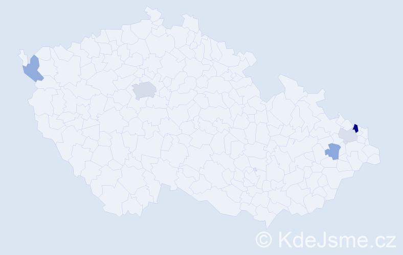 Příjmení: 'Hamrozyová', počet výskytů 10 v celé ČR
